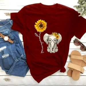 Graphic printed Sunflower short sleeve red Top